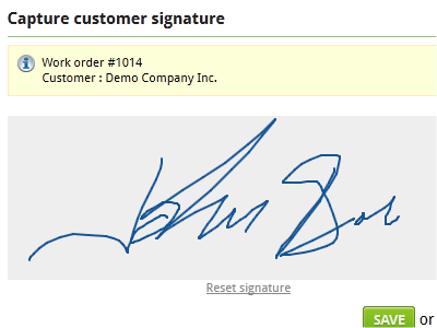 Our service management application allows you to capture customer signature.
