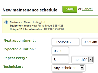 Our service management software allows you to track equipment and manage equipment maintenance.