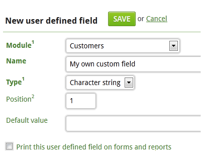 NewWaySERVICE allows you to create additional user defined fields.